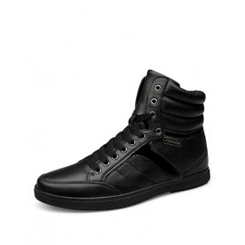Comfy High-Top Seaming Trim Lace-Up Casual Shoes in Black