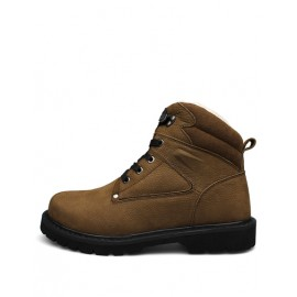 Cozy Round Toe Fleece Lining Solid Color Martin Boots with Lace-Up