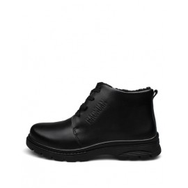 Cool Lace-Up Round Toe Fleece Lining Martin Boots in Pure Color