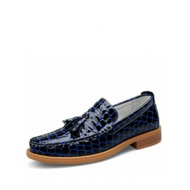 England Cro-Co Veins Square Toe Dress Shoes with Fringe Design