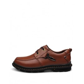 Korean Lace-Up Metallic Trim Dress Shoes in Solid Color