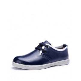 England Contrast Color Lace-Up Shoes with Almond Toe