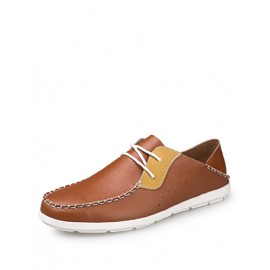 Concise Round Toe Low Top Shoes in Two Tone