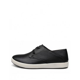 Concise Lace-Up Two Tone Shoes with Seaming Trim