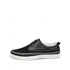 Casual Stitching Trim Lace-Up Shoes in Solid Color