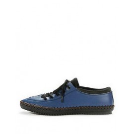 Korean Lace-Up Contrast Color Shoes with Stitching Trim