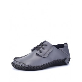 Casual Lace-Up Stitching Trim Shoes with Scallop Edge