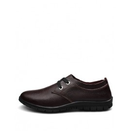 All Season Lace-Up Almond Toe Shoes in Solid Color