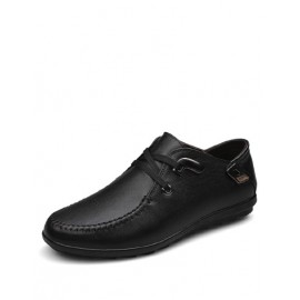 England Lace-Up Metallic Trim Shoes with Stitching Trim