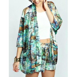 Abstract Assorted Color Double Patch Pocket Kimono with 3/4 Sleeve Size:S-L