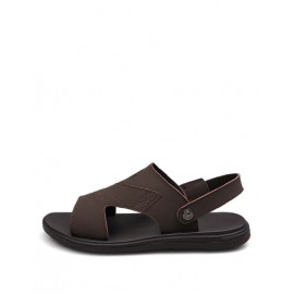 Leisure Stitching Trim Sandals with Sling Back