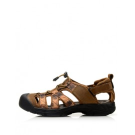 Leisure Closure Toe Mock Strap Sandals with Grid Pattern