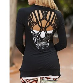 Styling Crocheted Skull Back Long Sleeve Tee in Solid Color