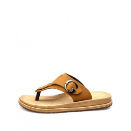 Casual Buckle Trim Antiskid Slippers with T-Bar