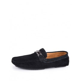 Comfy Metallic Buckle Round Toe Loafers in Solid Color