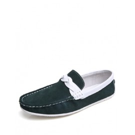 England Weave Trim Two Tone Loafers with Round Toe