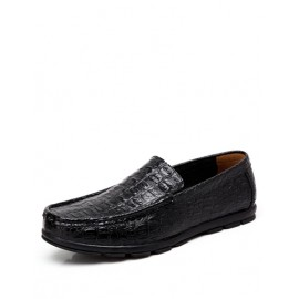 Casual Croco Embossed Loafers in Solid Color