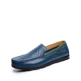 England Perforate Trim Square Toe Loafers in Pure Color
