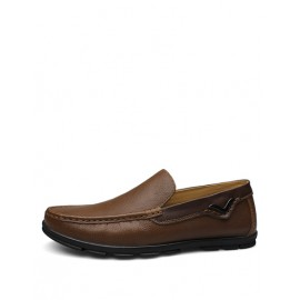 Concise Square Toe Stitching Trim Loafers in Solid Color