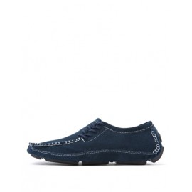 Korean Stitching Trim Loafers with Lace-Up Accent