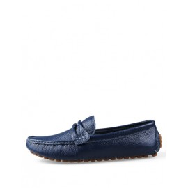 England Low Heel Stitching Trim Loafers in Solid Color