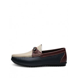 All-Season Metallic Buckle Loafers with Stitching Trim