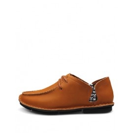 England Stitching Trim Letter Printed Loafers with Lace-Up