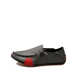 Faddish Stitching Trim Color Panel Loafers with lace-Up Accent