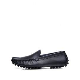 Leisure Stitching Trim Ruched Loafers with Studs Detail