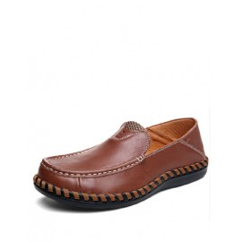 Leisure Stitching Trim Grid Pattern Loafers with Square Toe