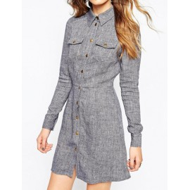 Concise Button Up Shirt Dress with Twin Pockets Front