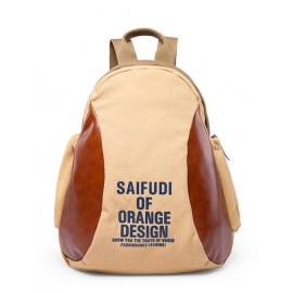 Casual PU Panel Letter Print Backpack