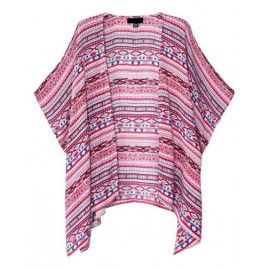 Ethnic Geometric Printed Batwing Sleeve Cardigan with Open Front Size:S-L