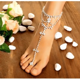 Hot Fashion Women Foot Chain Rhinestone Barefoot Wedding Bride Anklets With Toe Ring