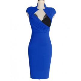 Illusive Lace Panel Ruched Party Dress with Mandarin Collar