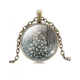 Merry Christmas Snow View Ball Gem Necklace in Christmas Tree
