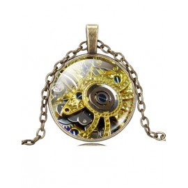 Punk Wheel Gear Printed Ball Fringe Necklace with Bronze Chain
