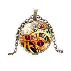 Modern Color Panel Wheel Gear Printed Necklace with Bronze Chain