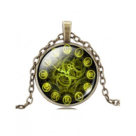 Styling Wheel Gear Printed Gem Necklace in Roman Number