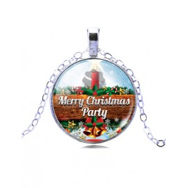 Merry Christmas Party Printed Ball Gem Necklace with Silvery Chain
