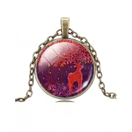 Mastery Fall Scenery Rein Dear Gem Necklace in Color Block