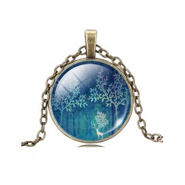 Mastery Forest and Rein Dear Printed Necklace with Ball Gem