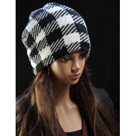 Hip Hop Color Block Beanie Hat with Checked Pattern For Women