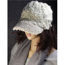 Unique Open Top Knitted Baseball Hat with Fuzzy Brim For Women