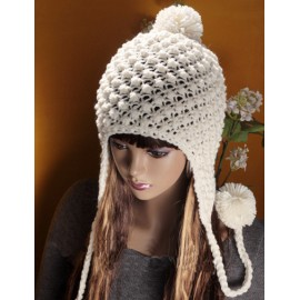 Popular Hollowed Hole Trapper Beanie Hat with Fuzzy Bobble For Women