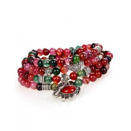 Multicolor Layered Bracelets with Floral Metal Trim