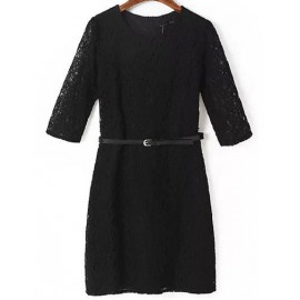 Classic Slim Fit Lace Dress with Long Sleeve