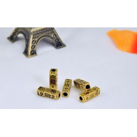 5Pcs CCB Plastic Loose Long Rectangle Tube Beads Gold Gookin Plated