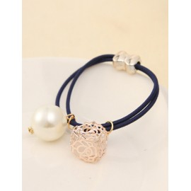 Sweet Pearl Ornament Hollow-Out Box Hair Tie with Bowknot Trim