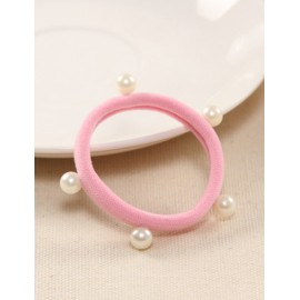 Korean Beads Emebllished Candy Pure Color Hair Tie